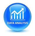 Data analysis (statistics icon) glassy cyan blue round button