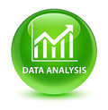 Data analysis (statistics icon) glassy green round button