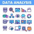 Data Analysis, Web Storage Linear Vector Icons Set
