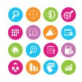 Data analytics and network icons communication in colorful round buttons Stock Image