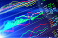 Data analyzing in forex market: the charts and quotes on display Royalty Free Stock Photo