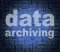 Data archiving means catalog catalogue and bytes showing information backup Royalty Free Stock Image