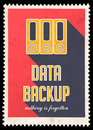 Data backup on red in flat design background vintage concept with long shadows Royalty Free Stock Images
