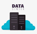 Data center and hosting cloud computing vector illustration eps Stock Photos