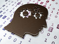 Data concept head with gears on binary code background d render Stock Image