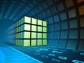 Data cube in a tunnel Royalty Free Stock Photo