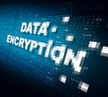 Data encryption concept as the word for internet security being pixelated and encrypted to become protected private information Royalty Free Stock Image