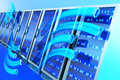 Data hosting concept server racks with binary on blue background hi res digitally generated image Stock Photography