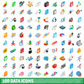 100 data icons set, isometric 3d style