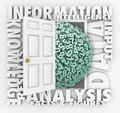 Data information retrieval research numbers figures door opening to reveal and surrounded by words analysis facts and insight and Royalty Free Stock Image