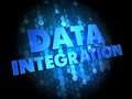 Data integration on dark digital background blue color text Royalty Free Stock Images
