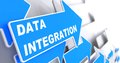 Data integration information concept blue arrow with slogan on a grey background d render Stock Photos