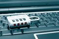 Data lock with password on a computer keyboard Royalty Free Stock Image