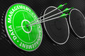 Data management concept on green target three arrows hitting the center of black background Stock Image