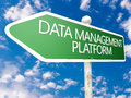 Data management platform street sign illustration in front of blue sky with clouds Royalty Free Stock Photos