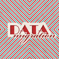 Data migration concept on striped background red and blue vintage in flat design Royalty Free Stock Image