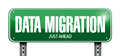 Data migration road sign illustration design over a white background Stock Photos