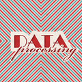 Data processing concept on striped background red and blue vintage in flat design Stock Photos