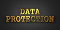 Data protection information concept gold text on dark background d render Royalty Free Stock Image