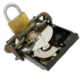 Data protection opened hard disk drive with chain and lock as concept isolated on white Stock Photo