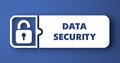Data security on blue in flat design style concept white button background Royalty Free Stock Photo