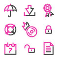 Data security web icons, pink contour series Stock Image