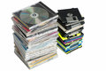 Data storage cds and diskettes on a pile Stock Photo