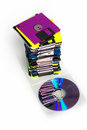 Data storage cds and diskettes on a pile Royalty Free Stock Images