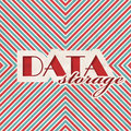Data storage concept on striped background red and blue vintage in flat design Stock Image