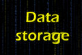 Data storage word in black background Stock Photo