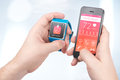 Data synchronization of health book between smartwatch and smart smartphone in male hands Stock Image