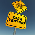 Data testing highway sign board with blue sky background and binary Stock Photo