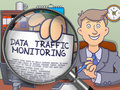 Data Traffic Monitoring through Magnifying Glass. Doodle Concept.