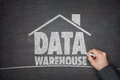 Data warehouse concept on blackboard Royalty Free Stock Photo