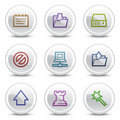 Data web colour icons, white circle buttons Royalty Free Stock Photo