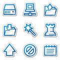 Data web icons, blue contour sticker series Stock Photos