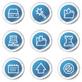 Data web icons, blue sticker series Royalty Free Stock Image