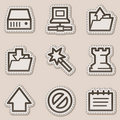 Data web icons, brown contour sticker series Stock Photo