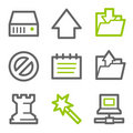 Data web icons, green and gray contour series Royalty Free Stock Images