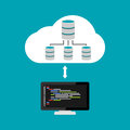 Database architecture programming. Database relation management. Cloud storage