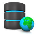 Database globe with on the white background Royalty Free Stock Photo
