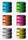 Database icons colorfull shiny icon illustration Stock Photos