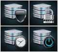 Database icons concept on black vector illustration Royalty Free Stock Images