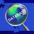 Database magnifier represents search magnify and databases showing magnification byte Stock Photos