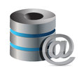 Database with mail symbol illustration design on white background Royalty Free Stock Image