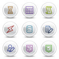 Database web colour icons, white circle buttons Royalty Free Stock Photo