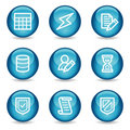 Database web icons, blue glossy sphere series Royalty Free Stock Photography