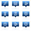 Database web icons, blue speech bubbles series Stock Image