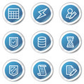 Database web icons, blue sticker series Stock Photos