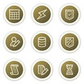 Database web icons,  brown circle buttons series Royalty Free Stock Images